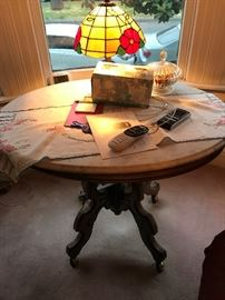 Marble Top Table , Tiffany Lamps