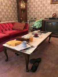 Marble Top Coffee Table ( About 5 ft. Long)                     Free TV
