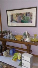 Sofa Table, Wine glasses and Party Supplies
