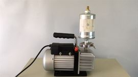 Across International dual stage vacuum pump with oil mist filter.