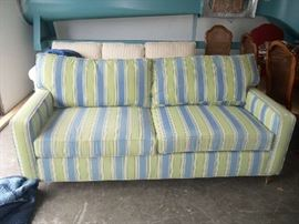 Blue/green striped couch.  Fabric from Calico Corners.  This is a sturdy, well made couch.