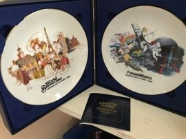 Pair of commemorative plates from the opening of EPCOT Center in Florida.