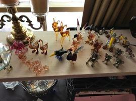 Lots of Murano Glass animals.