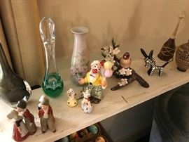 Vintage Dutch kissing figures, signed orrefors glass, vintage clown with 2 dogs, and much more.