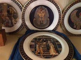 Plates from the King Tut exhibition.