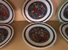 French plates commemorating Christmas stained glass.
