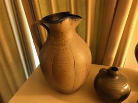 Young Ben Owen pitcher done for UNC-TV.  Jug by his dad, Ben Owen, Master Potter.
