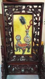Small Chinese table screen with raised enamel decoration