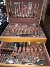 """Large 133 piece international """"Prelude"""" sterling silver flatware set with many serving pieces."""