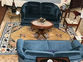 Beautiful pair of velvet settees  If not your color, slip cover   These are a great size perfect for living room or bedroom  Very comfortable.