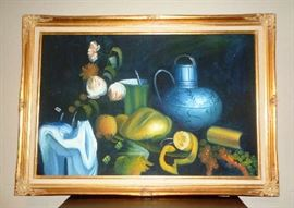 Wonderful still life oil with wooden frame finished in gold.