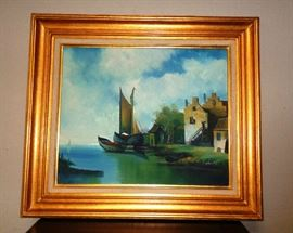 Great oil for the den of a boat lover.  Wooden frame with a gold finish.