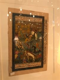 Close of up of one of four of framed illustrated Persian manuscripts