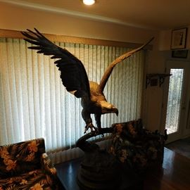 """eagle statue by J. Moigniel that is 5' 10"""" tall and has a wing span of over 5 feet"""