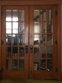 Antique oak 15 panel beveled glass door 100yr old great condition