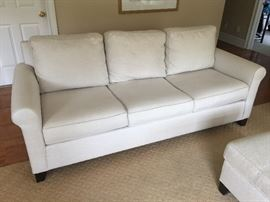 Pottery Barn off white linen 3 cushion sofa
