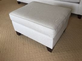 Pottery Barn off white linen ottoman