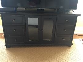 Black wood media console
