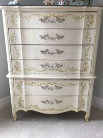 Heritage white hand painted 6 drawer bureau