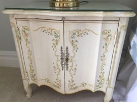 Heritage white hand painted nightstand with pullout shelf and cabinet and glass top