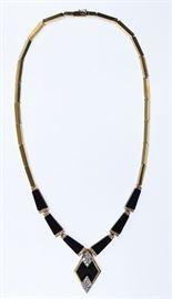 14k Gold Black Onyx and Diamond Necklace