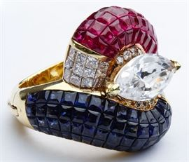 18k Gold Ruby Sapphire Diamond and Cubic Zirconia Ring