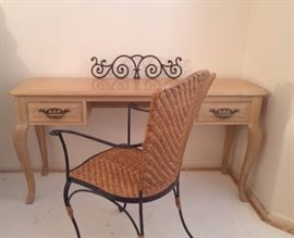 Thomasville Desk, Wicker/Metal Chair