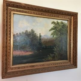 Hudson River School Antique Painting-beautiful!