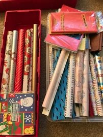 Wrapping paper and gift supplies are still in the house! Come and get them.