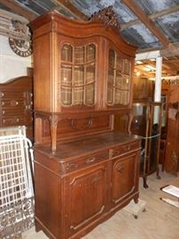 1870-1880's Belgium Oak China Cabinet Excellent Condition