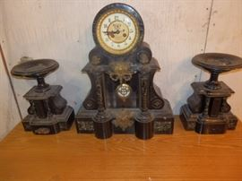 Slate Mantel Clock w/ matching Candle Stands