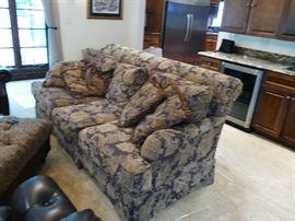 Large Fabric Comfy sofa with lots of matching pillows