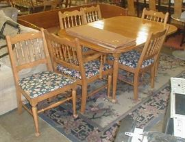 Dining table and six chairs.  $75.00