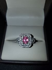 Pink Sapphire and Diamond in 18kt White Gold size 6