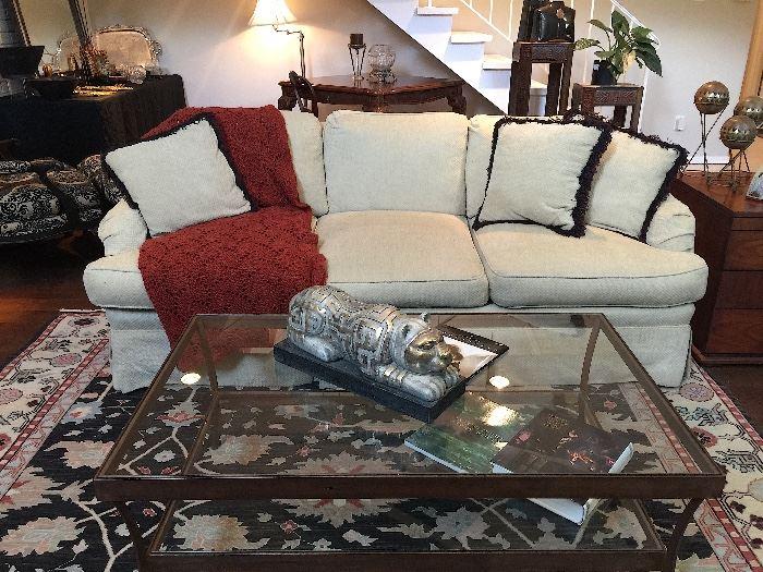 Custom Chenille Sofa & Custom Wrought Iron Glass Top Coffee Table.