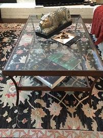 Custom Wrought Iron Glass Top Coffee Table.
