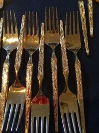 Brutalist Inspired Design Flatware in Gold Plated Stainless Steel.