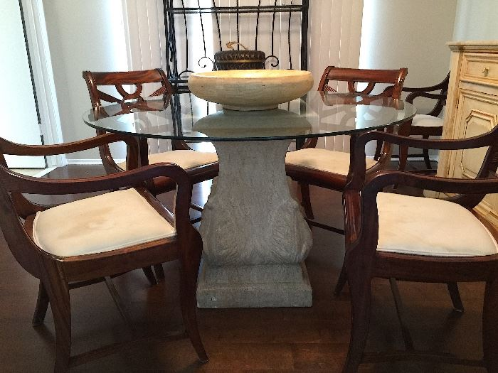 Stone Base Glass Top Dining Table.