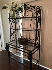 Wrought Iron and Beveled Glass Bakers Rack.. Great Heavy Piece!