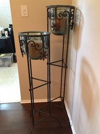 Pair of Wrought Iron Candle Torchieres.