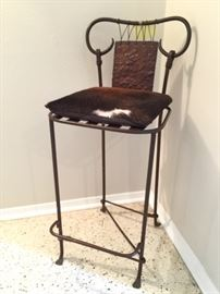 Cow Hide Cushion Wrought Iron Bar/Counter Stool.. Unique and Artistic Piece!