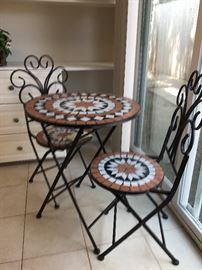 Mosaic Tile Bistro Table and Chairs.