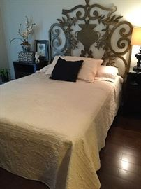 Queen Size Bed and Linens. Custom Designer Iron Queen Size Headboard by Artifacts International..