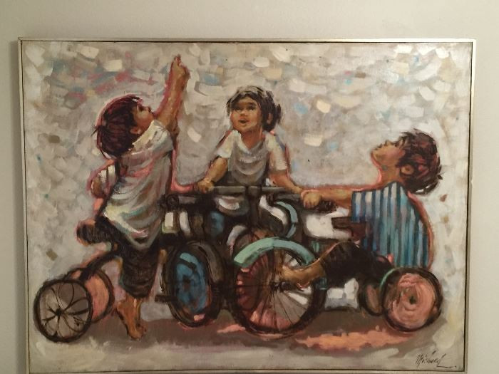 "• Original Custom Art by George Michaud of French-Spanish heritage. (""Easy Riders"") Oil/Canvas. Exceptional!!! Unfortunately, he was murdered at age 41 ending a talented career."