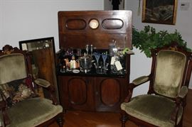 Victorian pop up cocktail cabinet and parlor chairs