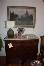 Victorian marble top buffet