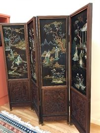 Stunning Asian Lacquered and Carved Rosewood Four Panel Room Screen Inset with Jade and Hardstone, backside elegantly hand painted.