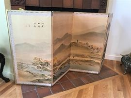 Vintage Japanese Byobu Hand Painted 4 Panel Screen