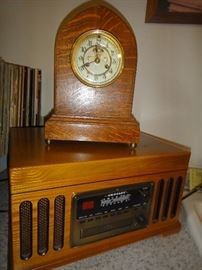 Waterbury, German Mantel Clock, Crosley record player with CD player
