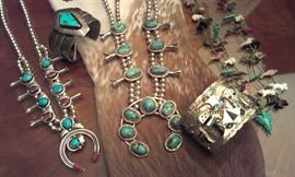 Sterling Navajo Turquoise Squash Blossom necklaces, Cuffs & Zuni, plus Fetish double strand necklace. Another Squash B necklace will be loaded later.